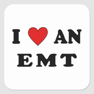 I Love An EMT Square Sticker