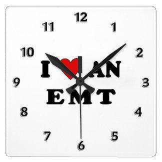 I Love An EMT Square Wallclocks