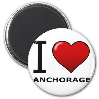 I LOVE ANCHORAGE,AK - ALASKA 2 INCH ROUND MAGNET