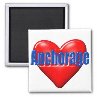 I Love Anchorage Alaska 2 Inch Square Magnet