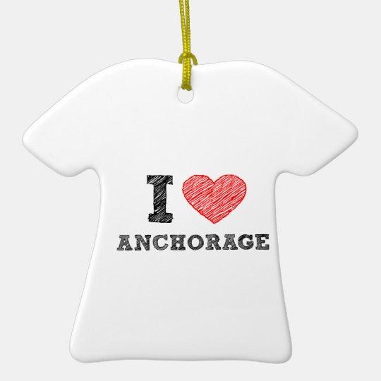 I Love Anchorage Ceramic Ornament