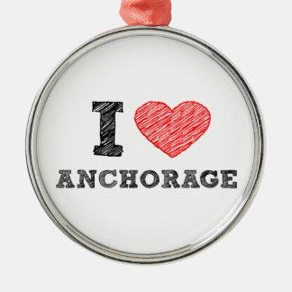 I Love Anchorage Metal Ornament