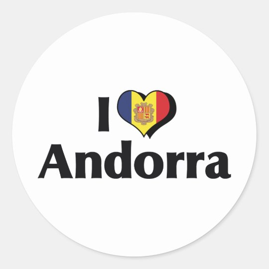 I Love Andorra Flag Classic Round Sticker