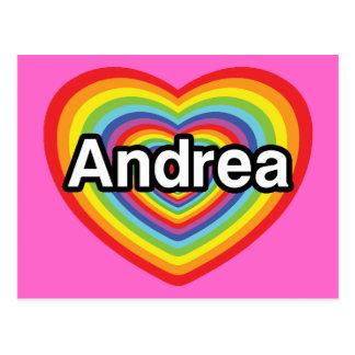 I love Andrea, rainbow heart Postcard