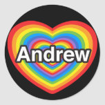 I love Andrew. I love you Andrew. Heart Round Stickers