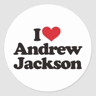 I Love Andrew Jackson Round Stickers