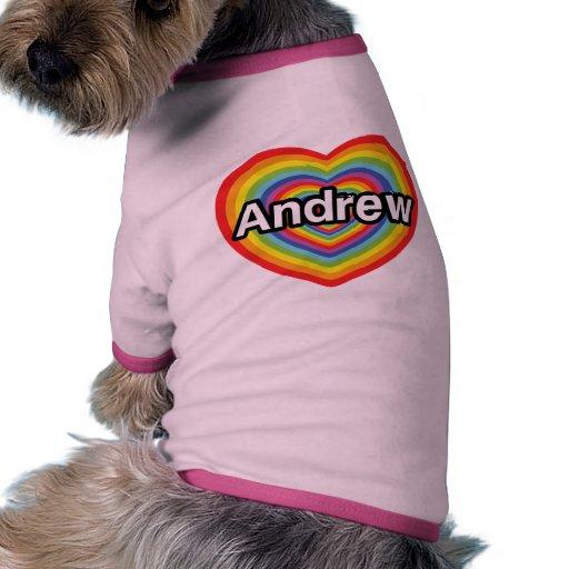I love Andrew, rainbow heart Doggie T Shirt