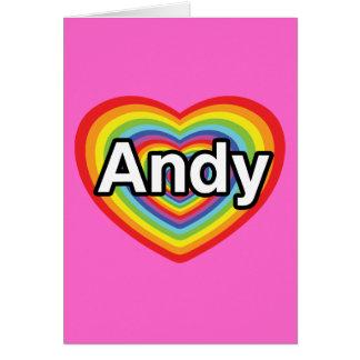 I love Andy, rainbow heart Card
