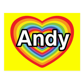 I love Andy, rainbow heart Postcard