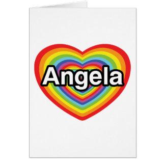 I love Angela, rainbow heart Card