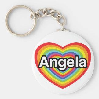 I love Angela, rainbow heart Keychain