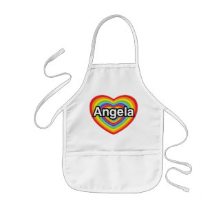 I love Angela, rainbow heart Kids' Apron