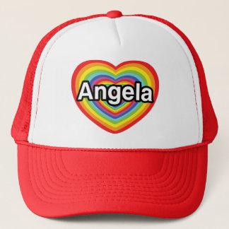 I love Angela, rainbow heart Trucker Hat