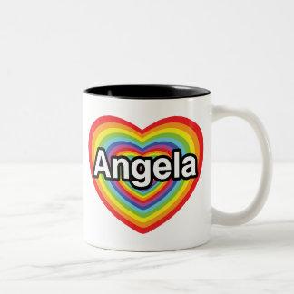 I love Angela, rainbow heart Two-Tone Coffee Mug