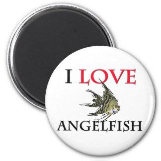 I Love Angelfish 2 Inch Round Magnet
