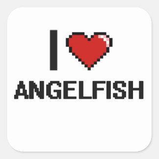 I love Angelfish Digital Design Square Sticker