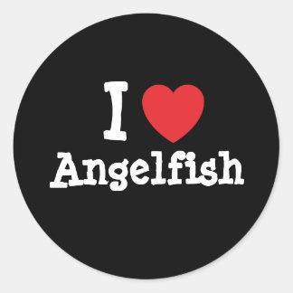 I love Angelfish heart T-Shirt Classic Round Sticker