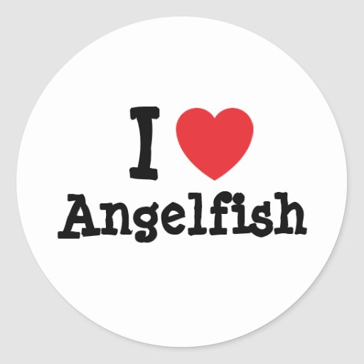 I love Angelfish heart T-Shirt Round Stickers