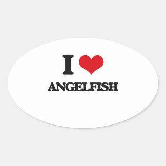 I love Angelfish Oval Stickers