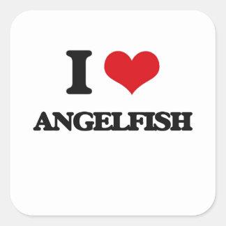 I love Angelfish Square Stickers