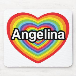 I love Angelina, rainbow heart Mouse Pad