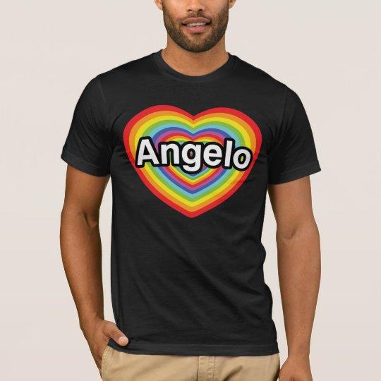 I love Angelo, rainbow heart T-Shirt