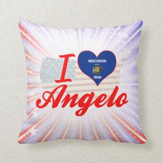 I Love Angelo, Wisconsin Throw Pillow