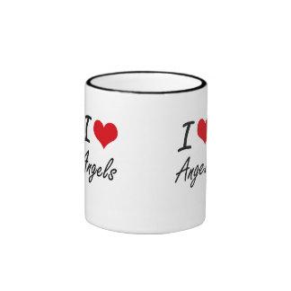 I Love Angels Artistic Design Ringer Coffee Mug