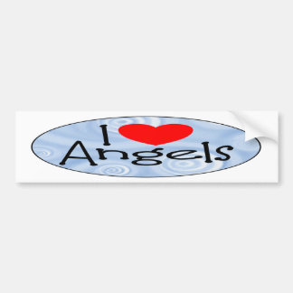 I Love Angels Car Bumper Sticker