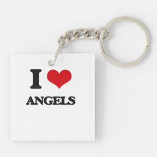 I Love Angels Double-Sided Square Acrylic Keychain