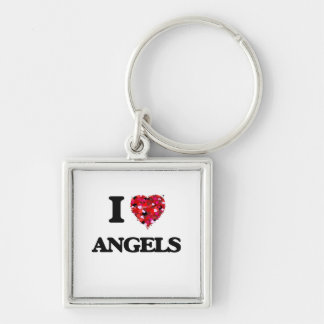 I Love Angels Silver-Colored Square Keychain