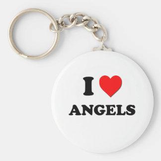 I Love Angels Basic Round Button Keychain