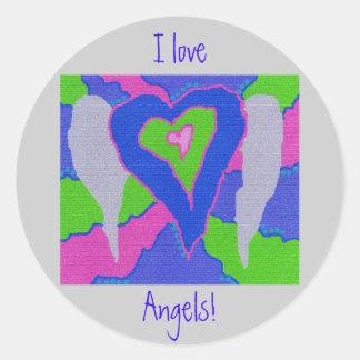 I Love  Angels! Round Stickers