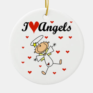 I Love Angels T-shirts and Gifts Ceramic Ornament