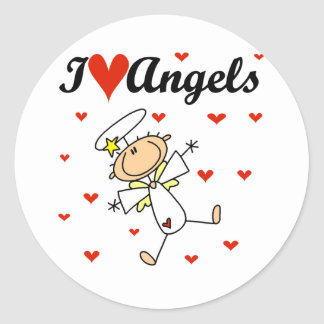 I Love Angels T-shirts and Gifts Classic Round Sticker
