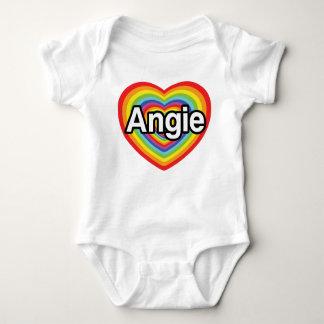 I love Angie, rainbow heart Baby Bodysuit