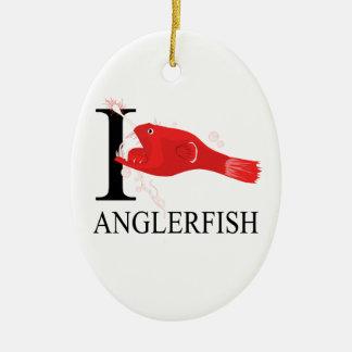 I Love Anglerfish Ceramic Ornament