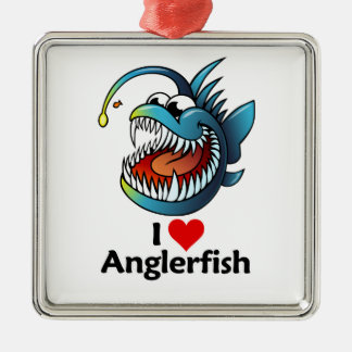 I Love Anglerfish Metal Ornament