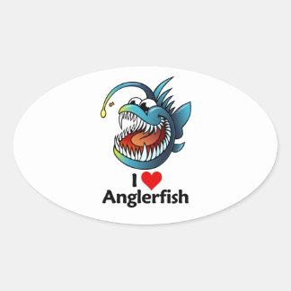 I Love Anglerfish Oval Stickers