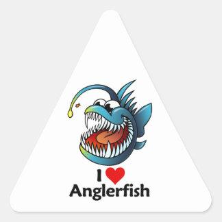 I Love Anglerfish Triangle Sticker