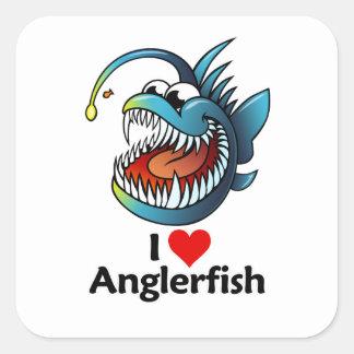 I Love Anglerfish Square Stickers