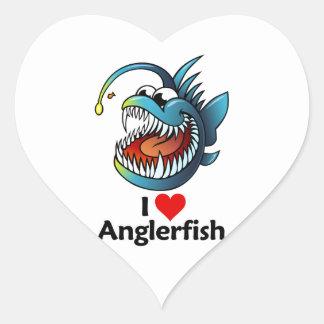 I Love Anglerfish Heart Stickers