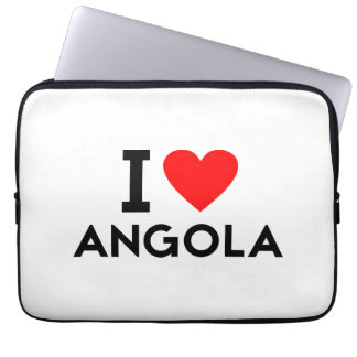 i love Angola country nation heart symbol text Computer Sleeve