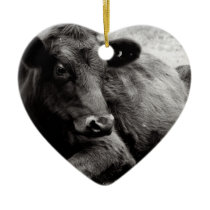 I love Angus Beef Cow Ceramic Ornament