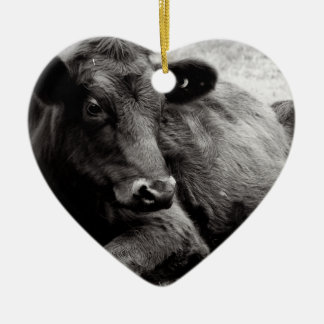 I love Angus Beef Cow Double-Sided Heart Ceramic Christmas Ornament