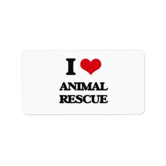 I Love Animal Rescue Address Label