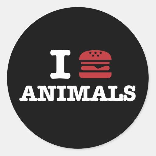 i love animals2 classic round sticker