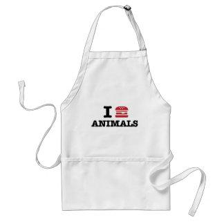 i love animals adult apron