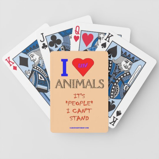 I LOVE ANIMALS BICYCLE PLAYING CARDS