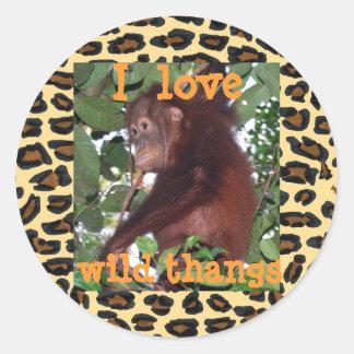 I love animals classic round sticker
